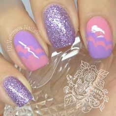 Such a cute manicure. Love the pink & lilac together! #nails #manicure