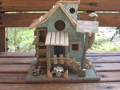 Birdhouse Old Mill Bar and Restaurant Stairs Porch Stove Pipe Water Wheel at CritterCreekRanch