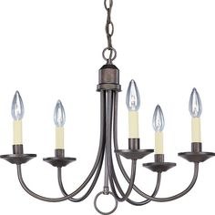 """View the Progress Lighting P4008 Five-Light Single-Tier Candelabra Chandelier with Arched Tubular Arms and White Candle Covers at Build.com.--21""""width and 16 1/2 height ; $115.47"""