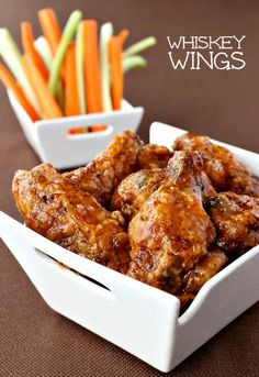 talk chicken wings for a minute here - Whiskey Wings to be exact. These wings are deep fried and tossed in an amazing whiskey glaze. An easy chicken wings recipe that's so addicting there won't be any left! Crispy Fried Chicken Wings, Best Chicken Wings Recipe Fried, Deep Fryer Chicken Wings, Bourbon Chicken Wings Recipe, Whiskey Chicken, Easy Chicken Wing Recipes, Frango Chicken, Appetizer Recipes, Appetizers
