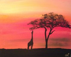 "African Safari Acacia Tree Giraffe Animal Acrylic Art Painting: African Safari Giraffe Reaching 16x20x.75"" by J. Von Ryan. $100.00, via Etsy."