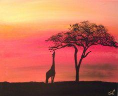 "African Safari Acacia Tree Giraffe Animal Acrylic Art Painting: African Safari Giraffe Reaching 16x20x.75"" by J. Von Ryan. $100.00, via Etsy."