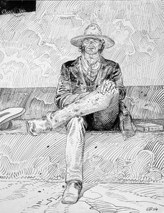 Jean Giraud/Mœbius: Lieutenant Blueberry - regardez un exemple de making-of… Jean Giraud Moebius, Moebius Art, Comic Book Artists, Comic Artist, Comic Books Art, Mike Deodato, Fabio Moon, Calvin E Hobbes, Tachisme