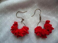 """""""Hoop around the orbit earrings""""  $9 plus shipping Bronze artisan wire hoop earrings, with pieces of upcycled t-shirt for a lovely decoration  #earrings #recycled #upcycled #jewelry  #aretes http://www.facebook.com/Supernovae.Upcycles"""