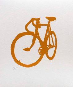 Bicycle Art Print  BSA in Ochre by bicyclepaintings on Etsy, $20.00