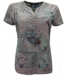 No Secret Damen T-Shirt Ausbrenner Knopfleiste Beige Rose