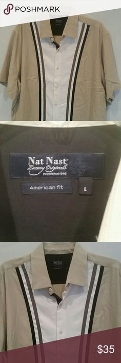 """Men's Orginal NAT NAST Retro Bowling Shirt  SILK 100% Silk, Size Large, American Fit, Shades of brown, button down front, 2"""" opening on both sides, under arm vents, Straight Hem.Perfect condition, quality Menswear. Nat Nast  Tops Tees - Short Sleeve"""