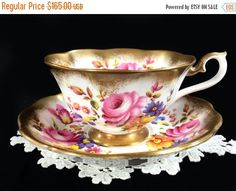 ON SALE Royal Albert Treasure Chest Teacup and Saucer, High Handled Wide Mouthed, Pink Rose Tea Cup Made in England 1744 by BarnKittyTreasures on Etsy https://www.etsy.com/listing/244536638/on-sale-royal-albert-treasure-chest