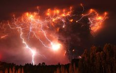 Another picture of volcanic lightning in Chile. June 6, 2011