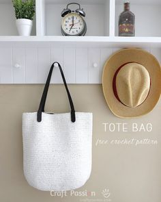 "Free crochet pattern for straw tote bag using raffia yarn. Written instruction, symbol chart & photos. 14.5x6x13"" tote, leather handles, lining & pockets – Page 2 of 2"