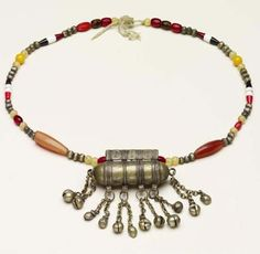 Africa | Necklace with amulet case from Mogadishu, Somalia | Silver alloy glass and carnelian stone beads | ca. early to mid 20th century