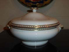 WEDGWOOD GOLD ULANDER COVERED VEGETABLE BOWL #WEDGWOOD