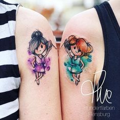 Tattoos Matching watercolor sister tattoos by Tina Hundertfarben - t. Matching watercolor sister tattoos by Tina Hundertfarben - tatoo - Soul Sister Tattoos, Bestie Tattoo, Mommy Tattoos, Matching Sister Tattoos, Best Friend Tattoos, Tattoos For Daughters, Disney Sister Tattoos, Finger Tattoos, Body Art Tattoos