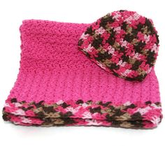 Baby girl hot pink blanket and hat newborn gift set, 0 - 3 photo prop crochet afghan beanie on Etsy, $42.00