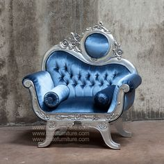 Victorian Sofa 1 Seater Silver Leaf