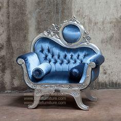 Victorian Sofa 1 Seater Silver Leaf