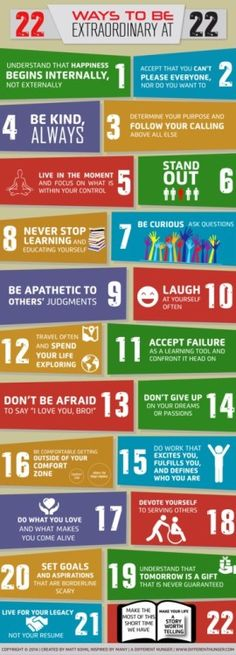 22 Ways to be Extraordinary. Excellent takeaways on how to live a GREAT life.