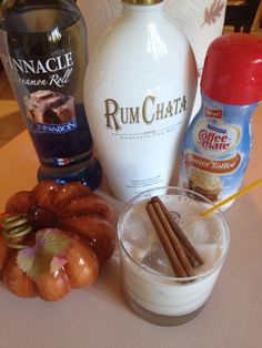 Delicious fall drink!  Coffee creamer, Cinnabon vodka and rum chata!  Throw into a cocktail shaker with ice and enjoy!  I sprinkle cinnamon in my shaker too!  ;)