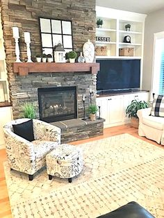 Love the fireplace decor and Traditional Living Room Design Fireplace Built Ins, Home Fireplace, Fireplace Remodel, Living Room With Fireplace, Fireplace Design, Fireplace Mantels, Mantles, Off Center Fireplace, Stone Fireplace Decor