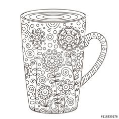 Cup of coffee with floral doodle coloring page for adult