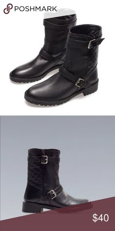 Black quilted Zara flat moto ankle boots. Size 37 Hit the streets this fall with awesome black Zara quilted flat motorcycle boots. They are a size 37 and are true to size. Zara Shoes Combat & Moto Boots
