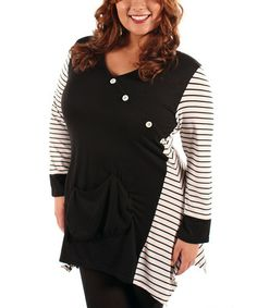 Take a look at this Black & White Stripe Asymmetrical Tunic - Plus by Aster on #zulily today!