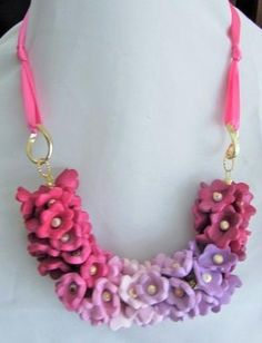 Polymer clay floral necklace with ribbon tie - Jewelry creation by Cassandra Wood Floral Necklace, Crochet Necklace, Flower Jewelry, Color Blending, Polymer Clay Jewelry, Ribbon, Jewelry Making, Necklaces, Jewels