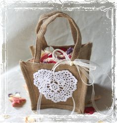 Lace And Burlap Flower Girl Basket - Wedding Accessories - Rustic Weddings - Tan Beige White Ivory - Burlap Bag - Cottage. $17.00, via Etsy.