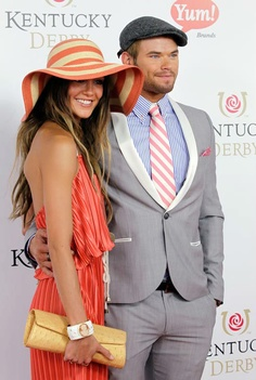 'Twilight' series actor Kellan Lutz arrives with a guest for the 138th Kentucky Derby horse race at Churchill Downs Saturday, May 5, 2012, in Louisville, Ky.