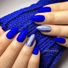 Blue Nail Art Ideas for 2018 - Top 150 Designs - Our Nail - Nails - Nageldesign Cobalt Blue Nails, Blue Gel Nails, Blue Acrylic Nails, Blue Chrome Nails, Blue Nails Art, Orange Nail Designs, Acrylic Nail Designs, Nail Art Designs, Royal Blue Nails Designs