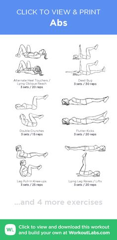 Abs – click to view and print this illustrated exercise plan created with #WorkoutLabsFit