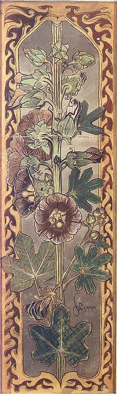 Alcea (hollyhock) - stained glass' project for Holy Cross Church in Krakow, 1896