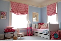 Roman Shades Casual Style in Christopher Farr Venecia Hot Pink, Aqua and Sage - Lynn Chalk