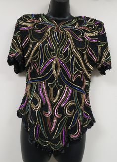 Vintage Silk Beaded and Sequined Evening Formal Blouse Laurence Kazar Scrolls Die Cut Hem Gold Magenta Green Black New Old Stock Unworn by KansasKardsStudio on Etsy