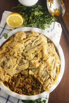 Imagine a cross between a traditional British cottage pie and an Indian samosa . Just top spiced beef mince with scrunched filo. Meat Recipes, Indian Food Recipes, Cooking Recipes, Ethnic Recipes, Recipies, African Recipes, Curry Recipes, Drink Recipes, Spiced Beef
