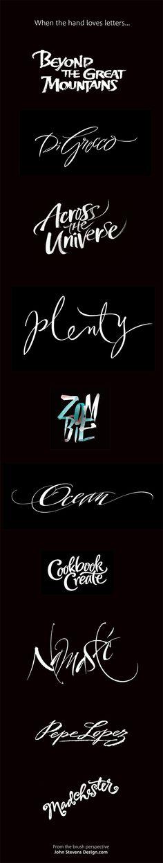 Zombie & other brush lettering by John Stevens