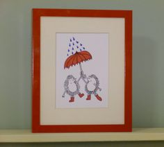 Hedgehogs in the Rain by SarahAtlasDesigns on Etsy, $20.00