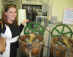 Our PR Manager getting a behind-the-scenes tour of the churns used to make the19 flavors of ice-cream available at The Berry Patch in Ellerbe, NC (Visit Richmond County)
