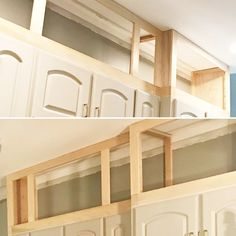 These 2 simple changes gave our kitchen cabinets the facelift we were dreaming of. Read on the see how we did it ourselves. Above Kitchen Cabinets, Kitchen Cabinet Storage, Diy Kitchen Island, Kitchen Redo, Kitchen Ideas, Kitchen Soffit, Top Of Cabinets, Kitchen Counters, Diy Kitchen Remodel