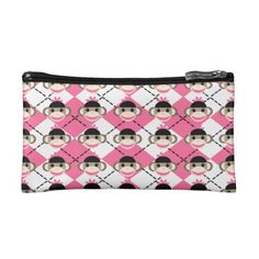 Pink Sock Monkeys on Pink White Argyle Diamond Cosmetic Bags SOLD on Zazzle