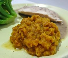 Mashed pumpkin with pumpkin pie spices makes a great side dish.