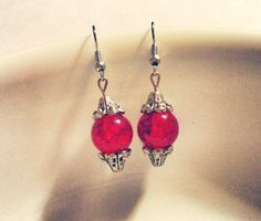 Earrings  Silver and Glass Beads  Red Crackle by CraftyChic90, $4.00