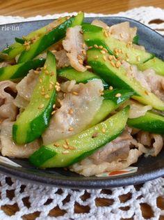 ✜豚肉ときゅうりの中華炒め✜ by rie-tin Pork Recipes, Lunch Recipes, Asian Recipes, Healthy Recipes, Easy Cooking, Cooking Recipes, Cooking Instructions, Cafe Food, Pork Dishes