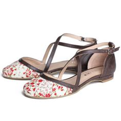 """Chelsea Crew Flower Sandals 49.99 at shopruche.com. Adorable and unique close toed sandals by Chelsea Crew. Features red floral fabric at the vamp with ruched detailing. Dark brown faux leather trim with thin straps that criss cross. Adjustable strap allows for a best fit.  -All man-made materials -Heel: approx. .6"""" -Slightly cushioned footbed"""