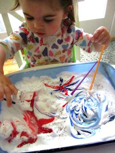 simple red white and blue sensory activity for kids | paint and shaving cream fireworks