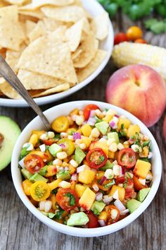 Peach Corn and Avocado Salsa. Peach Corn and Avocado Salsa- this fresh and simple salsa is perfect for summertime! Health Salad Recipes, Best Salad Recipes, Avocado Recipes, Healthy Recipes, Vegetarian Recipes, Healthy Meals, Simple Recipes, Tostadas, Tacos