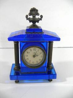 Vintage Small Blue Glass Mantle Alarm Clock