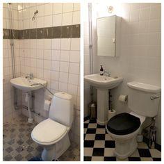 Nytt badrum i sekelskiftesstil / sekelskifte schackrutigt golv.