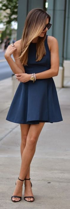 Navy blue fit + flare dress.