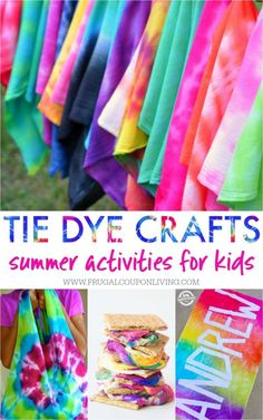 Summer Tie Dye Crafts on Frugal Coupon Living. Summer Bucket List Ideas for Kids including Tie Dye Ideas for your summer calendar Tie Dye Crafts on Frugal Coupon Living. Summer Bucket List Ideas for Kids including Tie Dye Ideas for your summer calendar. Summer Crafts For Kids, Summer Activities For Kids, Summer Kids, Craft Activities, Crafts For Teens, Projects For Kids, Kids Crafts, Diy Projects, Family Activities